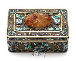 Antique Chinese Export Gilt Silver Jewelry Box With Gem Stone China