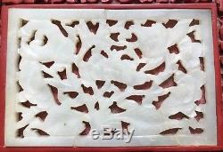 Antique Chinese Floral Carved Cinnabar Stash, Jewelry Box with Jade Insert