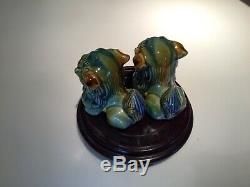 Antique Chinese Foo Fu Dogs and Black Shanghai Tang Jewelry Box