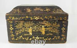 Antique Chinese Gilt Black Lacquer Jewelry Trinket Box Tea Caddy