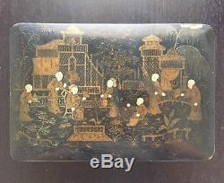 Antique Chinese Gilt Palace Robed Figures Black Lacquer Jewelry Box Scholar Art