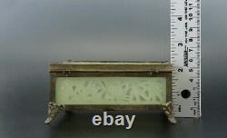 Antique Chinese Hand Carved Stone Jewelry Trinket Box Bamboo Crab Design