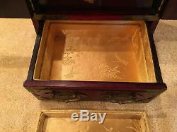 Antique Chinese Hand Made Inlayed & Brass Wood Jewelry Box Chest Cabinet