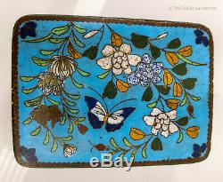 Antique Chinese Japanese Cloisonne Enamel Small Jewelry Trinket Cigarette Floral