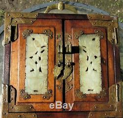 Antique Chinese Jewelry Box Carved White Jade &Brass with Locks Silk Lined Drawers