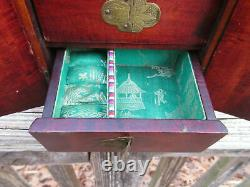 Antique Chinese Jewelry Box Wood Brass inlaid Jade Qing Dynasty 7 x 5.5 x 4