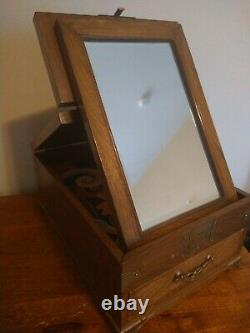 Antique Chinese Jewelry Or Vanity Box With Folding Mirror