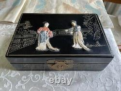 Antique Chinese Lacquer Wood Inlay Shoushan Stone & Jade Jewelry Box