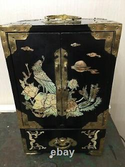 Antique Chinese Lacquered jewellery box Cabinet Mother Of Pearl Inlay