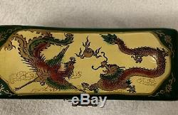Antique Chinese LeatherLayered, Dragon/Phoenix Hand Painted Green Jewelry Box