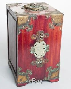 Antique Chinese Locking Jewelry Box Wood/Bronze Carved Soapstone Inlay 7 Tall