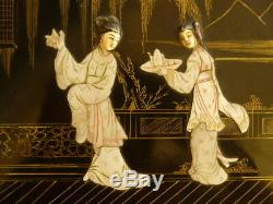 Antique Chinese Oriental Papier Mache Lacquer Figural Mother Pearl Jewelry Box