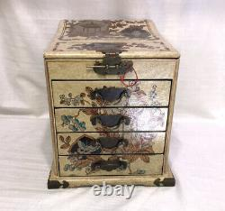 Antique Chinese Pheasant Lacquer Jewelry / Vanity Box with Mirror Drawers Latch