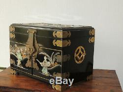 Antique Chinese Qianlong Lacqued Wood Jewelry Chest Box