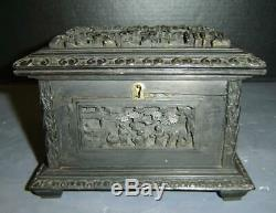 Antique Chinese Qing Canton Carved High Relief Wood Jewelry Casket Box With Key