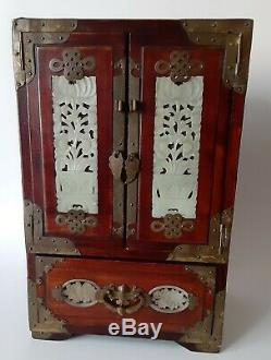 Antique Chinese Qing Dynasty Wood Jewelry Box Cabinet Carved Jade&Brass Accent