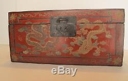 Antique Chinese Red Alter Box/Jewelry Chest Gilt Carved Figures & Gold Dragons