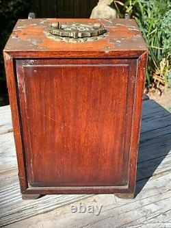 Antique Chinese Rosewood Brass Jewellery Chest