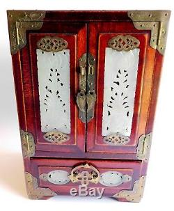 Antique Chinese Rosewood Jewelry Box Inlaid Jade Carving & Brass Teal Satin Line