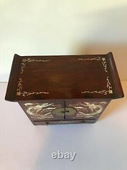 Antique Chinese Rosewood Jewelry Box Mother of Pearl Inlay Early 20th centur