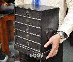 Antique Chinese Rosewood wood dynasty Drawer Jewelry Box storage Boxes cabinet