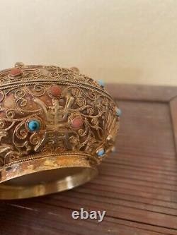 Antique Chinese Silver And Gold Filigree Jewelry Box With Jade And Gemstones Wow