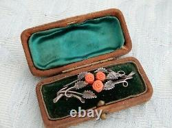 Antique Chinese Silver & Carved Coral Ladies Bar Brooch & Box old estate find
