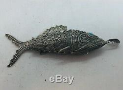 Antique Chinese Sterling Silver Articulated Filigree Koi Fish Pill Box Pendant