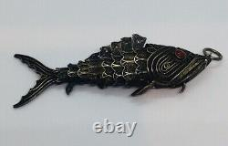 Antique Chinese Sterling Silver Filigree Coral Articulated Fish Box Pendant