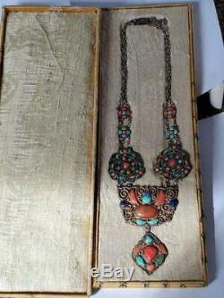 Antique Chinese Tibetan Nepal Silver Coral Lapis Turquoise Silver Necklace Box