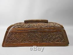 Antique Chinese Turquoise Silk Lined Hand Carved Zitan Wood Jewelry Box w Lock