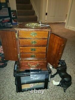 Antique Chinese Wood Brass Jewelry Box 5 Drawer Cabinet 12 x 8 x 5.5 Heavy