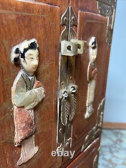 Antique Chinese Wood Brass Jewelry Box Cabinet Stone Pearl Inlay Vintage 10Rare