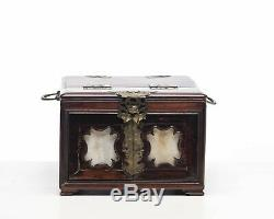 Antique Chinese Wood Fold Up Mirror Cosmetic Jewelry Box with Marble Inserts