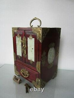 Antique Chinese Wood Jade Export Jewelry Chest With Lock And Key Rare