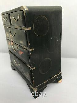 Antique Chinese Wood Jewelry Box Hand Painted Brass Handles
