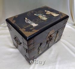 Antique Chinese Wooden Jewelry Box w. 3D Oriental Women Figures & Red Interior