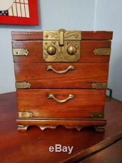 Antique Chinese Wooden Jewelry Chest with Folding Mirror, 2 Drawers