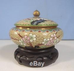 Antique Chinese cloisonne jewellery boxes pair hand crafted 1930s