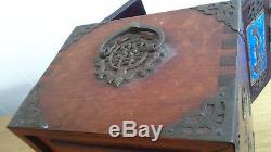 Antique Chinese dragon jewelry box, wood with brass enamel jade decorations