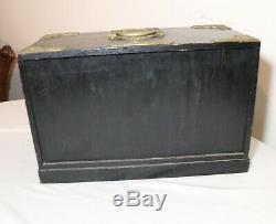Antique Chinese hand made brass mounted ornate ebonized wooden jewelry box case