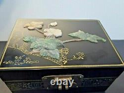 Antique Chinese handmade carved stone flower edging hardwood lacquer jewelry box