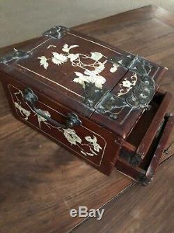 Antique Chinese hardwood jewelry/cosmetic box with mother-of-pearl inlay & mirror