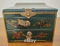 Antique Chinese wood Makeup Vanity Fold up Mirror Jewelry Box Drawers Green
