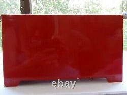 Antique Chinese wood Makeup Vanity Jewelry Box with folding Mirror Red MOP Inlay