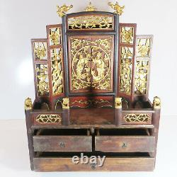 Antique Dynasty Jewelry Box Trinket Cabinet w Intricate Gold Carvings & Mirror