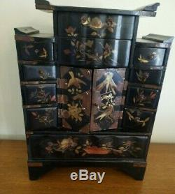 Antique Large Chinese Handpainted Laquered Jewelry Box Chest Exceptional