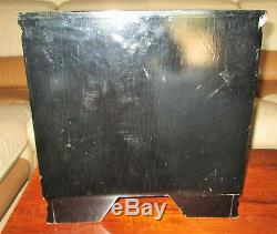 Antique Large Chinese Hongmu Wood 17Lb Black Lacquer Jewelry Box Chest Brass