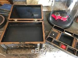 Antique Oriental Black Lacquer Chinoiserie Japanned Jewellery Box Workbox Large