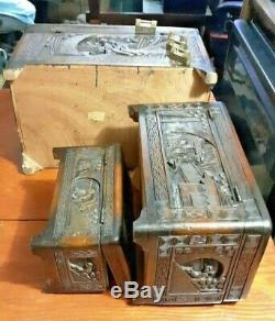 Antique Oriental Chinese Carved Wood Chest Jewelry, Treasure 3 pc set